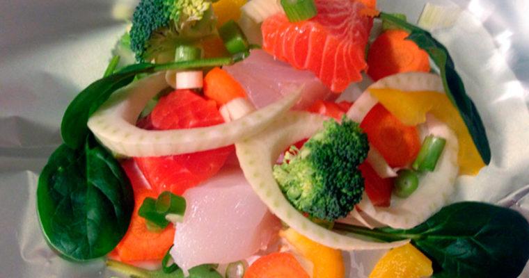 Fiskepakke med grønnsaker